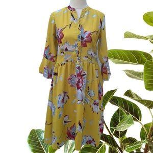2Bme Yellow Floral Dress Size S Boho Hippy